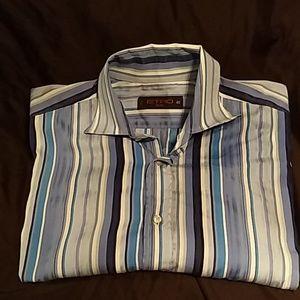 Men's dress  blue stripe ETRO Milano shirt size 40